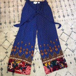 Royal blue Palazzo pants with gorgeous pattern hem